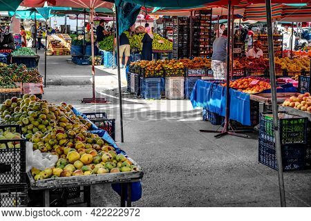 Alanya, Turkey - October 23, 2020: Vegetable And Fruit Stalls In Alanya Street Food Market. Tables W