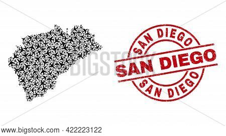 San Diego Rubber Stamp, And Segovia Province Map Collage Of Airliner Items. Collage Segovia Province
