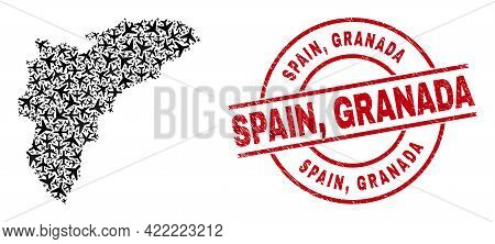 Spain, Granada Distress Seal Stamp, And Alicante Province Map Mosaic Of Jet Vehicle Items. Mosaic Al