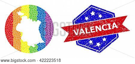 Pixelated Bright Spectral Map Of Valencia Province Mosaic Formed With Circle And Subtracted Shape, A