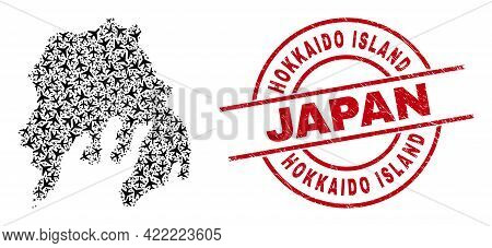 Hokkaido Island Japan Scratched Stamp, And Gambier Island Map Collage Of Air Plane Items. Mosaic Gam
