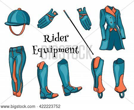 Outfit Rider A Set Of Clothes For A Jockey Boots Pedjak Pants Whip Helmet In Cartoon Style