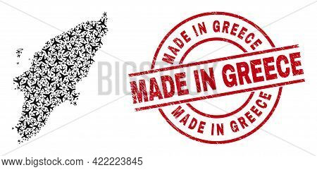 Made In Greece Distress Badge, And Rhodes Island Map Collage Of Airplane Items. Collage Rhodes Islan
