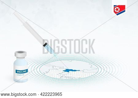 Covid-19 Vaccination In North Korea, Coronavirus Vaccination Illustration With Vaccine Bottle And Sy