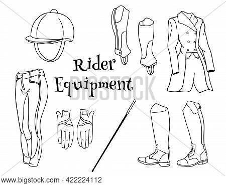 Outfit Rider A Set Of Clothes For A Jockey Boots Pedjak Pants Whip Helmet In Line Style Coloring Boo