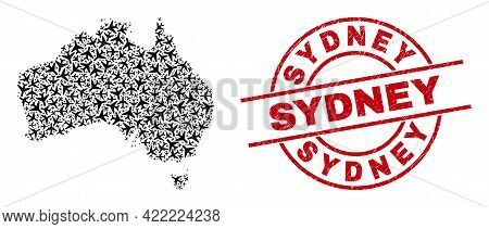 Sydney Rubber Seal, And Australia Map Collage Of Jet Vehicle Elements. Collage Australia Map Created