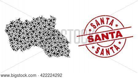 Santa Grunge Seal Stamp, And Santa Maria Island Map Collage Of Air Force Elements. Collage Santa Mar