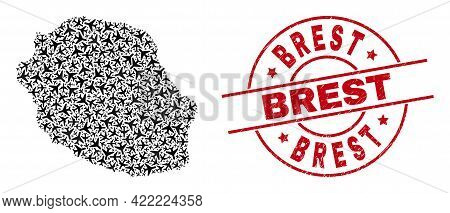 Brest Rubber Seal Stamp, And Reunion Island Map Mosaic Of Jet Vehicle Elements. Mosaic Reunion Islan