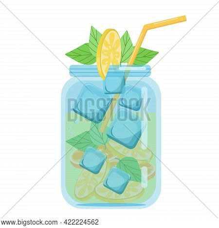 Soft Drinks, Fruit Smoothies With Lemon And Mint, Carbonated Soft Drink In A Glass Jar, Vector Objec