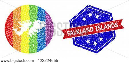 Dot Spectrum Map Of Falkland Islands Mosaic Composed With Circle And Stencil, And Textured Badge. Lg