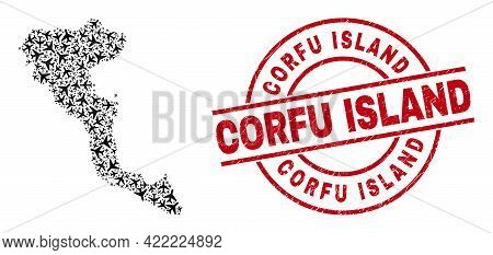 Corfu Island Rubber Seal Stamp, And Corfu Island Map Mosaic Of Airliner Items. Mosaic Corfu Island M