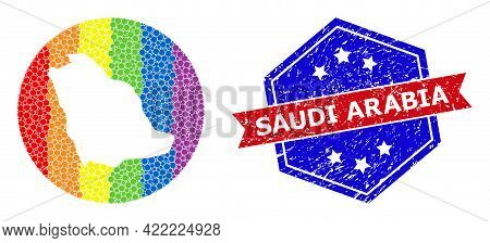 Pixel Spectrum Map Of Saudi Arabia Collage Created With Circle And Cut Out Shape, And Textured Stamp