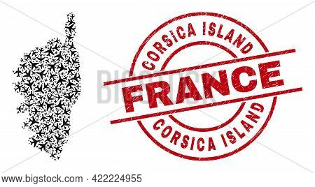 Corsica Island France Grunged Stamp, And Corsica Map Mosaic Of Aeroplane Items. Mosaic Corsica Map C