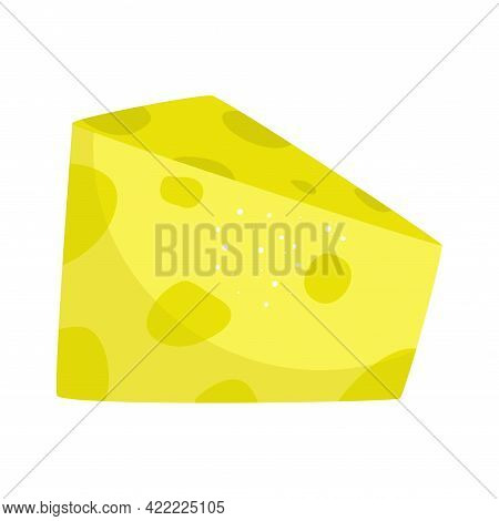 Piece Cheese With Holes Isolated. Keto-friendly Diet. Vector Illustration Of Food In A Flat Style. C