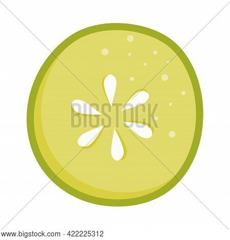The Cucumber Circle Is Isolated. A Keto-friendly Diet. Vector Illustration Of Food In Flat Style. Cu