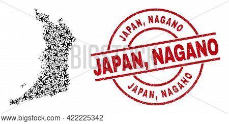 Japan, Nagano Grunged Seal, And Osaka Prefecture Map Collage Of Jet Vehicle Elements. Collage Osaka