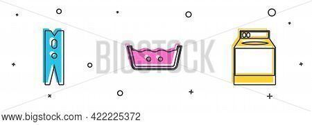 Set Clothes Pin, Temperature Wash And Washer Icon. Vector
