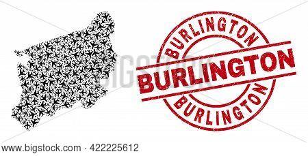 Burlington Grunge Stamp, And West Pomeranian Voivodeship Map Collage Of Air Plane Elements. Mosaic W