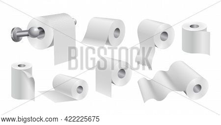 White Toilet Paper Rolls. Realistic Papers, Isolated Sanitary Kitchen Towels. Soft Hygiene Vector Se