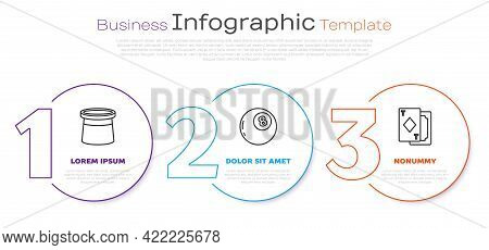 Set Line Magician Hat, Magic Ball Of Predictions And Playing Cards. Business Infographic Template. V