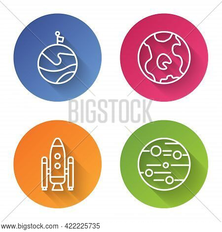 Set Line Moon With Flag, Earth Globe, Space Shuttle And Rockets And Planet Mars. Color Circle Button