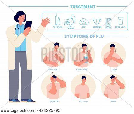 Flu Treatment. Cough Medicine, Influenza Symptom Infographic. Seasonal Sick, Doctor Indicate On Trea