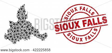 Sioux Falls Rubber Seal, And Zaragoza Province Map Collage Of Air Plane Items. Collage Zaragoza Prov