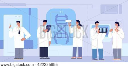Chemistry Lab Characters. Researcher Scientists, Research In Laboratory Biochemistry. Medical Doctor