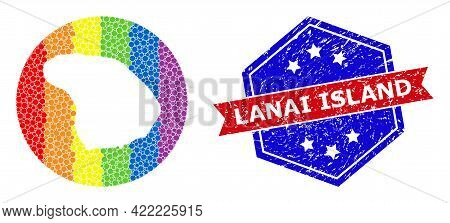 Pixel Spectral Map Of Lanai Island Mosaic Designed With Circle And Hole, And Textured Seal Stamp. Lg