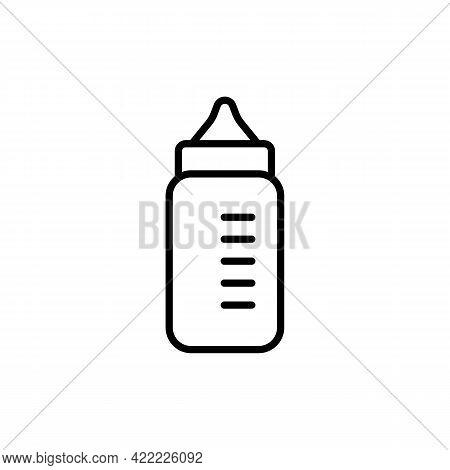Baby Milk Bottle Black Line Icon. Feeding Bottle White Background. Trendy Flat Isolated Symbol Sign