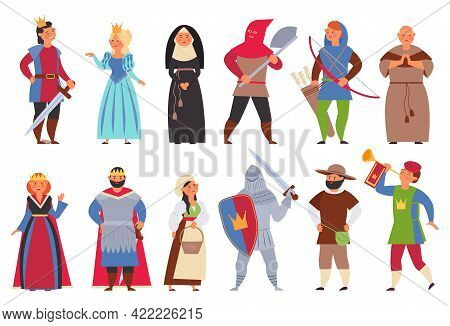 Medieval Characters. Flat Knight, Man King And Princess. Cute Boy, Actors In Costumes. Cartoon Peasa