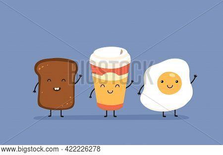 Breakfast Say Hello. Cute Kawaii Fried Egg, Bread Toast And Mug Of Coffee. Delicious Morning Food Ve