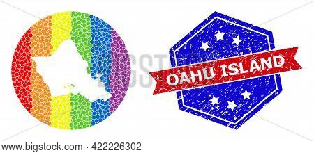 Pixelated Rainbow Gradiented Map Of Oahu Island Mosaic Created With Circle And Stencil, And Textured
