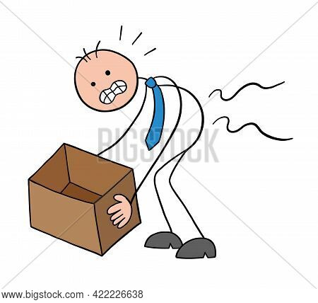 Stickman Businessman Character Hurts Back When Lifting Box, Vector Cartoon Illustration. Black Outli