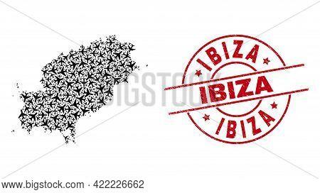 Ibiza Distress Badge, And Ibiza Island Map Mosaic Of Air Plane Elements. Mosaic Ibiza Island Map Des