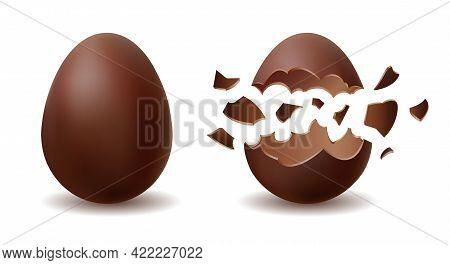 Tasty Chocolate Egg. Isolated Cracked And Whole Choocolate Eggs Sweets, Open And Closed Easter Dark