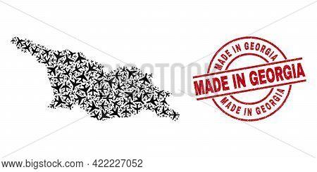 Made In Georgia Grunged Badge, And Georgia Map Collage Of Aeroplane Items. Collage Georgia Map Desig