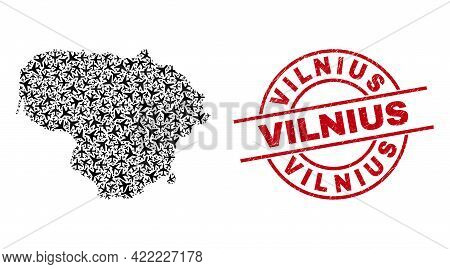 Vilnius Rubber Stamp, And Lithuania Map Mosaic Of Aeroplane Elements. Mosaic Lithuania Map Designed