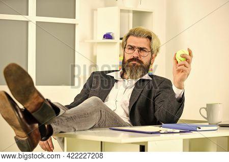 Crisis Concept. Successful Man Entrepreneur Formal Business Suit Sitting Office Interior. Business M