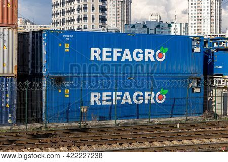 Autonomous Diesel-electric Refrigerated Containers Refagro At A Railway Container Terminal In Moscow