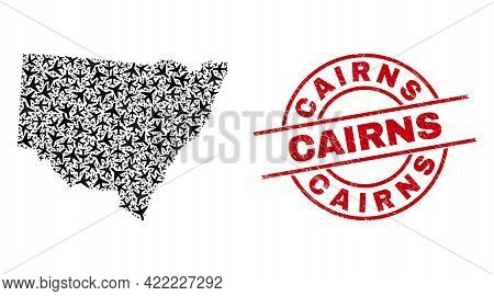 Cairns Rubber Seal Stamp, And New South Wales Map Collage Of Airliner Items. Collage New South Wales