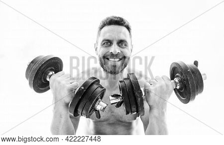 Man Sportsman With Strong Ab Torso. Steroids. Athletic Body. Dumbbell Gym. Muscular Man Exercising W