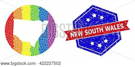 Dot Spectrum Map Of New South Wales Mosaic Designed With Circle And Carved Shape, And Textured Stamp