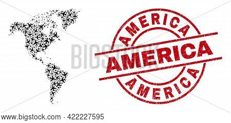 America Grunge Badge, And South And North America Map Collage Of Air Force Elements. Mosaic South An