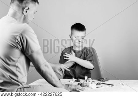 Health Care. Pediatrician Concept. Medical Examination. Boy Cute Child And His Father Doctor. Hospit