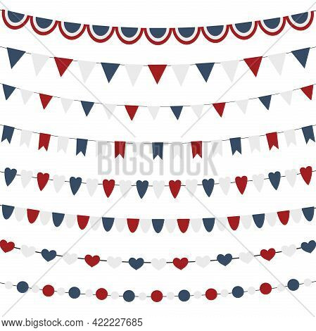 Usa Celebration Bunting Garlands Flags Flat National Set For Independence Day Isolated On White Back