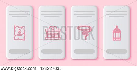 Set Line Wanted Western Poster, Wild Saloon, Lasso And Dynamite Bomb. White Rectangle Button. Vector