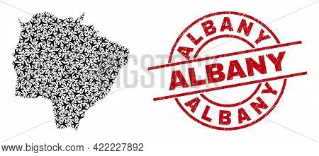 Albany Rubber Seal, And Mato Grosso Do Sul State Map Collage Of Air Force Elements. Collage Mato Gro