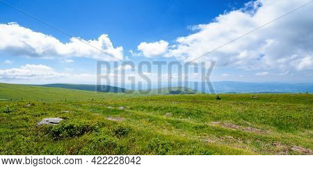 Meadow On The Mountain Plateau. Beautiful Summer Landscape On A Sunny Day. Clouds On The Sky Above T