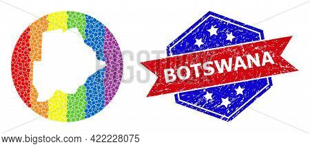 Dotted Spectrum Map Of Botswana Collage Designed With Circle And Cut Out Shape, And Distress Badge.
